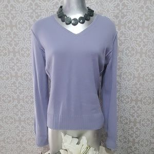 Prive 100% Cashmere Light Blue V-Neck Sweater
